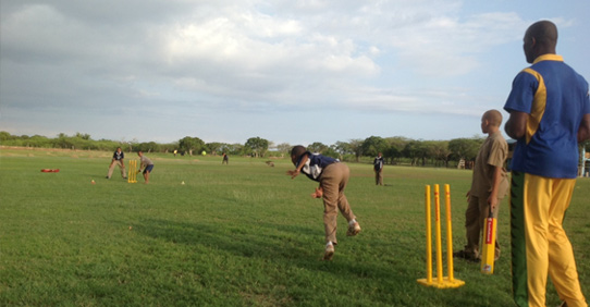 Playing Cricket at Sports Park Jakes Hotel, Jamaica