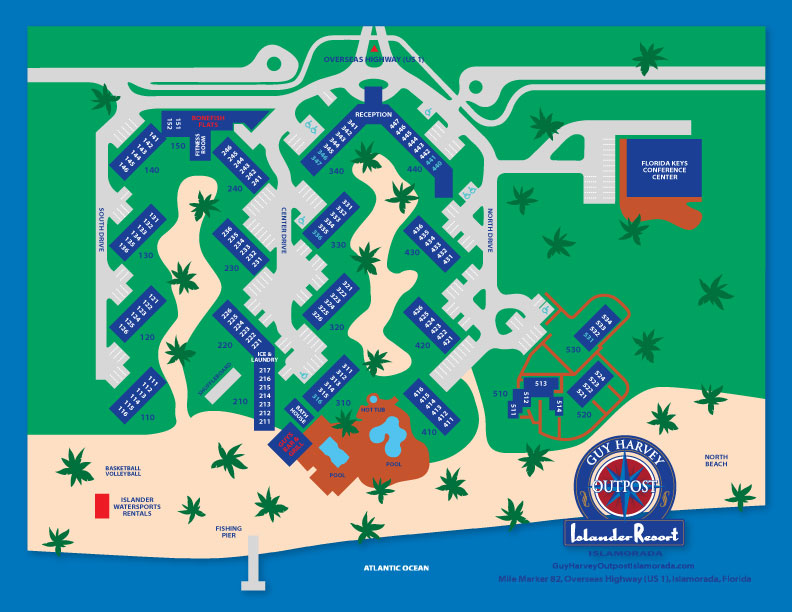 Oceanside Resort Map of Guy Harvey Outpost Resort in Florida