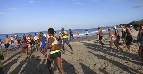 Running in Beach at Jakes Hotel, Jamaica